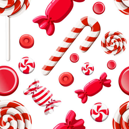 Seamless pattern of red sweetmeats. Hard candy, candy cane, lollipop. Candy in wrapper. Vector illustration on white background. Web site page and mobile app design.