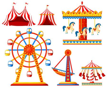 Satz Karnevalszirkusikonen. Sammlung von Vergnügungsparks. Zelt, Karussell, Riesenrad, Piratenschiff. Cartoon-Stil-Design. Vektorabbildung getrennt auf weißem Hintergrund.