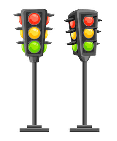 Traffic light. Vertical traffic signals with red, yellow and green lights. Cartoon style design. Vector illustration isolated on white background. Web site page and mobile app design.