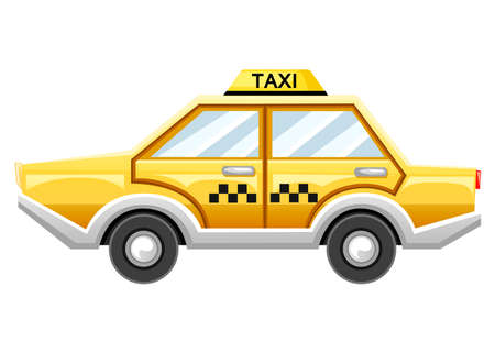 Yellow taxi car. Taxi service. Cartoon style design. Vector illustration isolated on white background. Web site page and mobile app design. Illustration