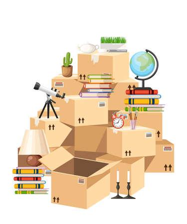 箱の積み重ね。オブジェクトを持つ段ボール箱。引っ越しの家のコンセプト。背景にベクタイラスト。Web サイト ページとモバイル アプリのデザイン。 写真素材 - 98771813