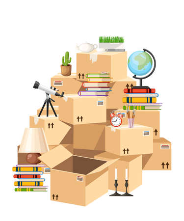 Stack of boxes. Cardboard boxes with objects. Moving house concept. Vector illustration on white background. Web site page and mobile app design.
