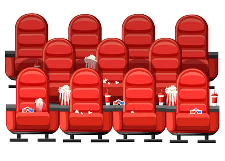 Cinema concept. Auditorium and three rows of red comfortable armchairs in the cinema. Drinks and popcorn, glasses for movie. Vector illustration on white background. Web site page and mobile app.