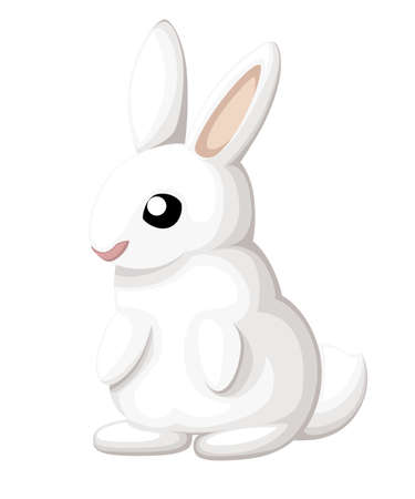 Cute bunny. Cartoon style design. White rabbit sits on two paws. Vector illustration isolated on white background. Web site page and mobile app design. Illustration