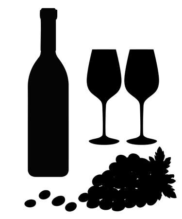 Black silhouette Vector grapes brunch with leaves, wine glass and bottle of wine illustration. Vector illustration isolated on white background.