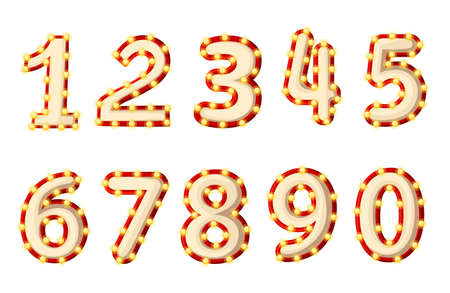 Set of lighted retro numbers. Cartoon style design. Yellow light bulbs and red stroke. Vector illustration isolated on white background. Vettoriali