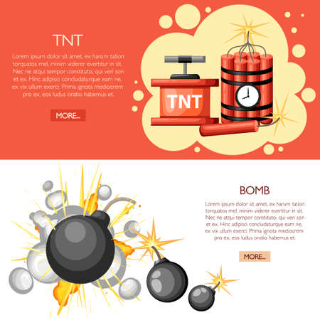 Dynamite with clock, dynamite sticks and vintage bomb. Cartoon style design. Vector illustration on white and red background. Illustration