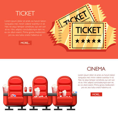 Cinema concept. Auditorium and three red comfortable armchairs in the cinema. Drinks and popcorn, glasses for movie. Cartoon cinema golden tickets. Vector illustration on white and red background.