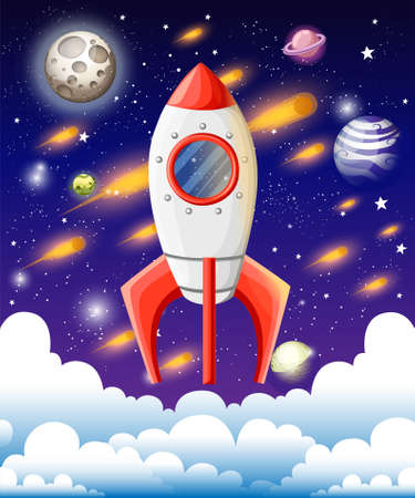 Rocket in space. Space ship higher than clouds. Meteor shower, stars, moon and planets on background. Vector illustration in cartoon style design. Website page and mobile app design. Illustration