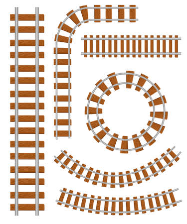 Set of vector railroad and railway tracks construction elements. Straight and curved railroad track. Trackway structure for traffic train. Vector illustration isolated on white background.