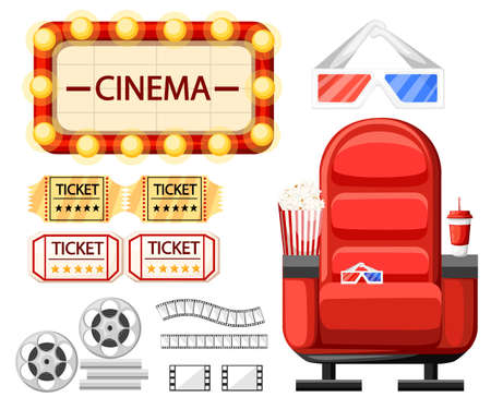 Set of cinema objects. Cinema seat, glasses, tickets, film roll,reel and strip. Twisted cinema tape. Cartoon style design. Vector illustration isolated on white background. Web site page and app.