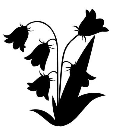 Black silhouette. Bluebell flower with leaves. Floral icon. Vector illustration isolated on white background. Web site page and mobile app design.