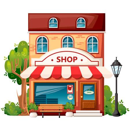 Vista frontal de la tienda Elementos de diseño de la ciudad. Diseño de estilo de dibujos animados. Tienda con letrero abierto, banco, farola, arbustos verdes y árboles. Ilustración vectorial sobre fondo blanco.
