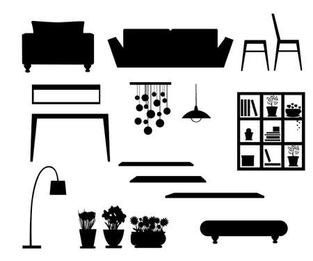 Black silhouette. Set of home furniture. Lamps, desk, chairs, sofa, potted plants and shelf. Vector illustration isolated on white background. Web site page and mobile app design.