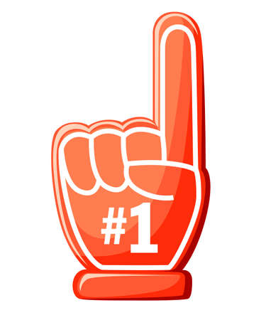 Number one glove. Red foam finger with 1. Vector illustration on isolated white background. Website page and mobile app design.