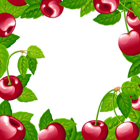 Pattern of cherry berry. Vector illustration of cherry with green leaves. Vettoriali