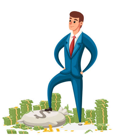 Businessman stand on a pile of money. Businessman in blue suit. Cartoon style character design. Vector illustration on white background. Stock Illustratie