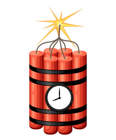 Dynamite with clock. Time bomb ready to explosion. Cartoon style design. Vector illustration isolated on white background. Web site page and mobile app design.