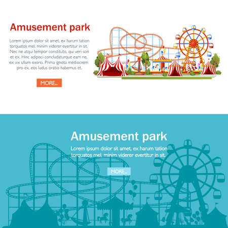 Amusement park. Cartoon style design. Roller coaster, carousel, pirate ship and red tents.