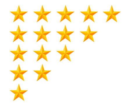 Golden star rating icon isolated badge set. Quality, feedback, experience, level concepts vector illustration isolated on white background. Web site page and mobile app design.