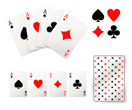 Set of ace playing cards. Back side design. Vector illustration isolated on white background. Web site page and mobile app design.