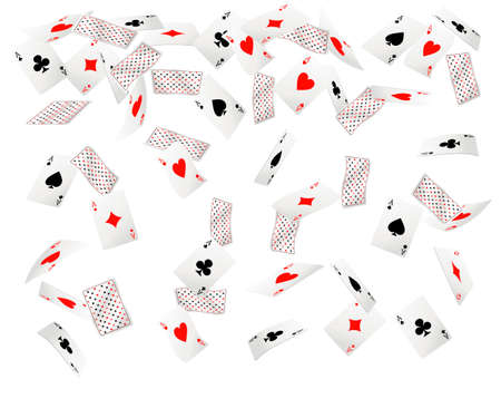 Set of ace playing cards. Falling playing cards. Back side design. Vector illustration isolated on white background. Web site page and mobile app design.