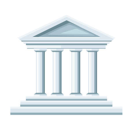 Greek temple illustration. Bank icon. Flat style design. Vector illustration isolated on white background. Web site page and mobile app.