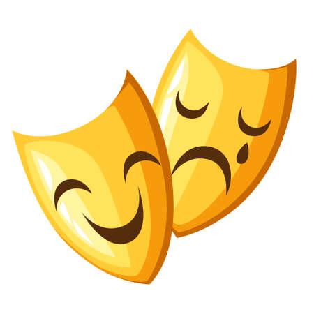 Zwei alte traditionelle griechische Masken. Goldene Theatermasken Komödie und Tragödie. Cartoon-Stil-Design. Vektorabbildung getrennt auf weißem Hintergrund. Website-Seite und Design der mobilen App.