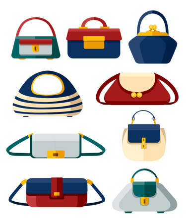 Set of stylish womens handbags of different shapes. Flat style design vector illustration isolated on white background. Web site page and mobile app. Illustration