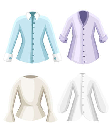 Set of blouses, clothes for lady. Female formal long sleeved blouses flat style design vector illustration isolated on white background. Web site page and mobile app. Foto de archivo - 99937871