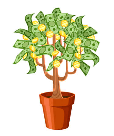 Money tree. Green cash banknotes with golden coins. Tree in a ceramic pot. Vector illustration isolated on white background. Web site page and mobile app design. Illustration