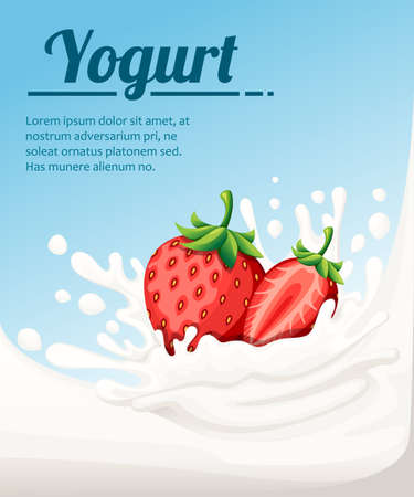 Strawberry flavored yogurt. Milk splashing and strawberry berries. Yogurt ads in flat style. Vector illustration on light blue background. Place for your text. Иллюстрация