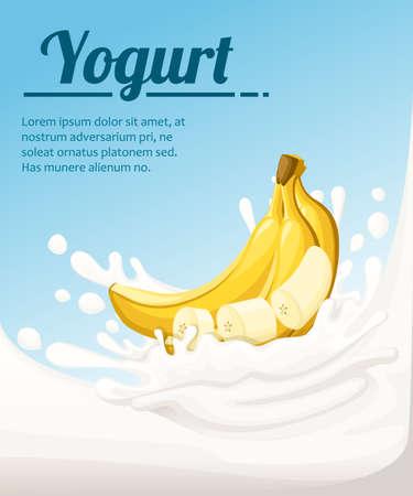 Banana flavored yogurt. Milk splashing and banana fruit. Yogurt ads in flat style. Vector illustration on light blue background. Place for your text.