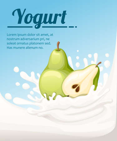 Pear flavored yogurt. Milk splashing and pear fruit. Yogurt ads in flat style. Vector illustration on light blue background. Place for your text. Иллюстрация