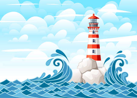 Stormy sea with lighthouse on rock stones island. Nature or marine design. Flat style. Vector illustration with sky and clouds background. Vectores