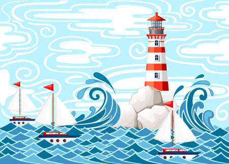 Stormy sea with lighthouse on rock stones island. Small ships on water. Nature or marine design. Flat style. Vector illustration with sky and clouds background.
