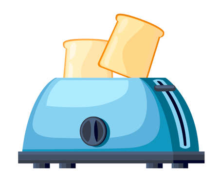 Blue toaster. Steel toaster with two slices of bread. Cartoon style design. Vector illustration isolated on white background