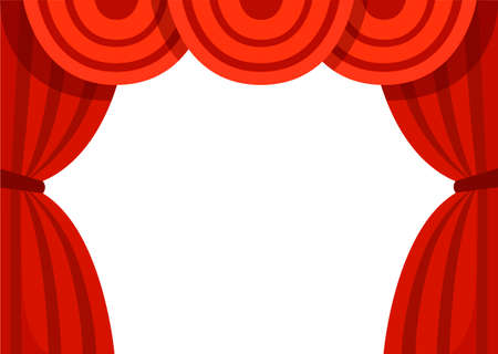 Open red curtains. Classic theater stage. Flat vector illustration isolated on white background