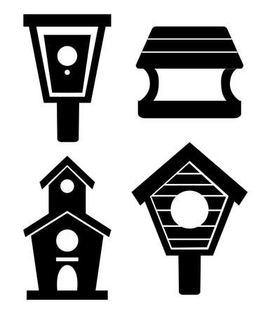 Black silhouette. Set of wooden birdhouses. Nesting boxes cartoon style. Homemade building for birds, handmade object. Flat vector illustration isolated on white background.