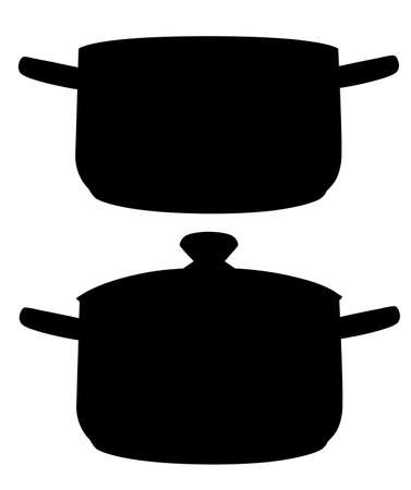 Black silhouette. Two cooking pans. Open and close pan. Vector illustration isolated on white background.