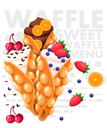Hong Kong waffles. Waffle with strawberry, cherry and orange and whipped cream. Vector illustration with text on background.