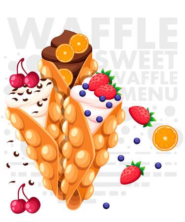 Hong Kong-wafels. Wafel met aardbei, kers en sinaasappel en slagroom. Vectorillustratie met tekst op achtergrond.