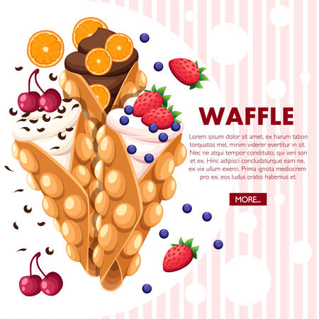 Hong Kong-wafels. Wafel met aardbei, kers en sinaasappel en slagroom. Vectorillustratie met plaats voor tekst. Website-pagina en ontwerp van mobiele apps.