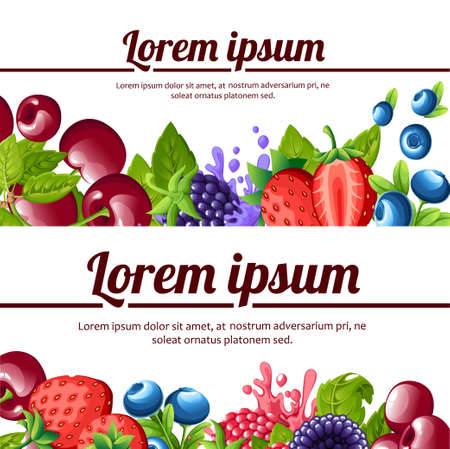 Forest berrys. Sweet fruits. Strawberrys, blueberries, blackberries cherry, raspberries. Flat vector illustration. Place for your text. Website page and mobile app design.