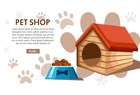 Pet shop concept. Wooden doghouse with red roof and food bowl. Vector illustration on background with animal footprints. Place for your text. Website page and mobile app design. Vettoriali