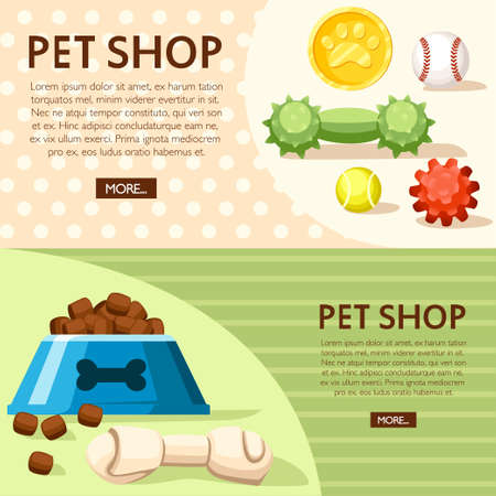 Pet shop concept. Bowl, balls and toy bones. Vector illustration on background with dotted and line texture. Place for your text. Website page and mobile app design. Stock Illustratie