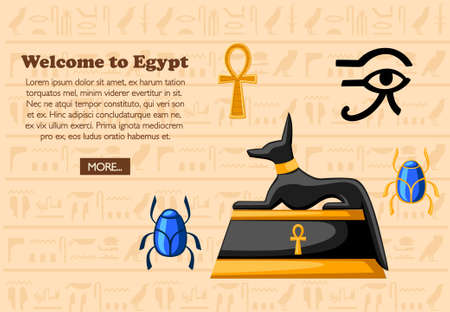 Welcome to Egypt. Travel concept. Ancient Egyptian symbols and decoration. Flat icons vector illustration on hieroglyphs texture background. Web site page and mobile app design.