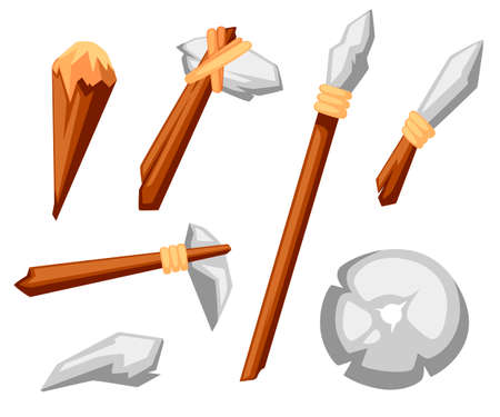 Stone tools set. Stone age primitive work tools axe, hammer, club, spear and knife. Stone wheel. Flat style vector illustration isolated on white background.