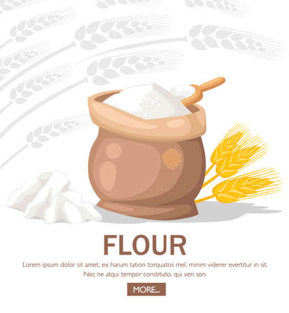 Full bag of flour. Wheat ears near bag. Flour with wooden scoop. Silver silhouette wheat ears on background. Flat vector illustration with place for text. Website page and mobile app design. Иллюстрация