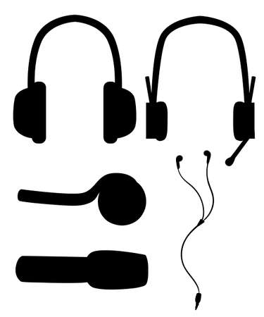 Black silhouette. Headset and headphones. In-Ear ,open and closed headphones. Vector illustration isolated on white background